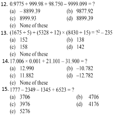 Simplification Questions for IBPS CLERK 2015 3
