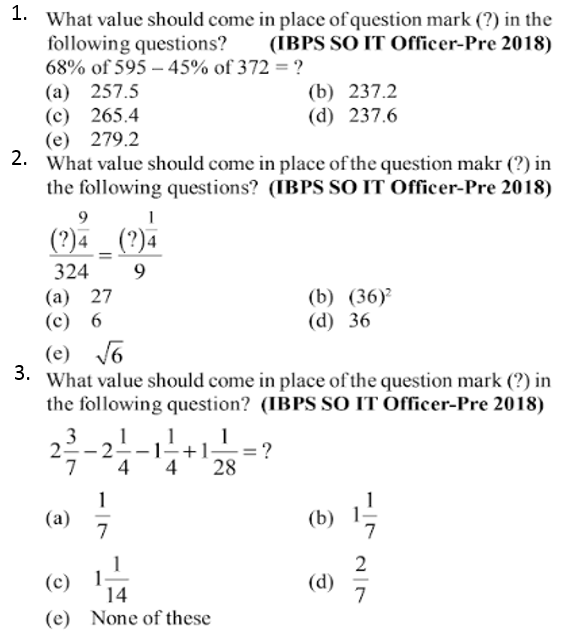 Simplifications Questions for IBPS SO 2017 1