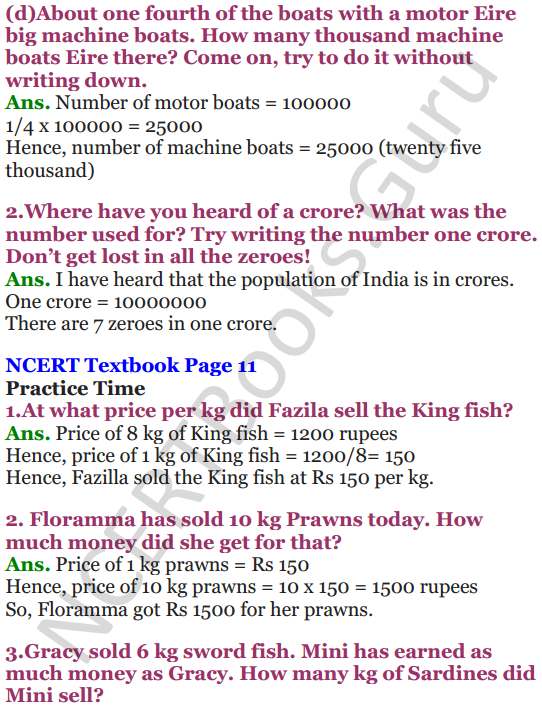 NCERT Solutions for Class 5 Maths Chapter-1 The Fish Tale 8