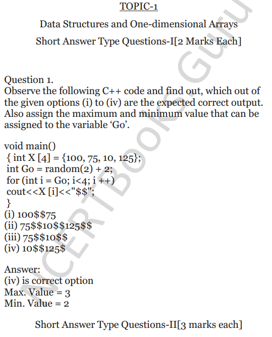 NCERT Solutions for Class 12 Computer Science (C++) Chapter - 8 – Arrays 1