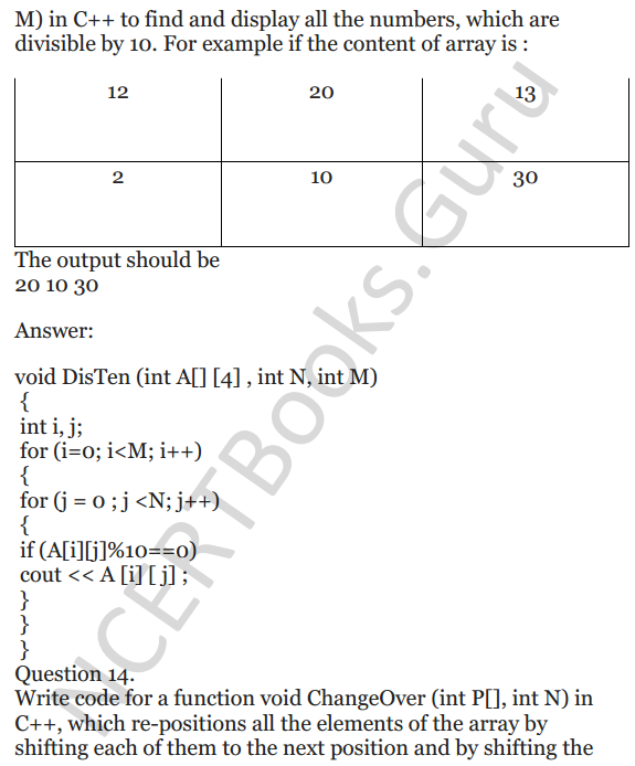 NCERT Solutions for Class 12 Computer Science (C++) Chapter - 8 – Arrays 12