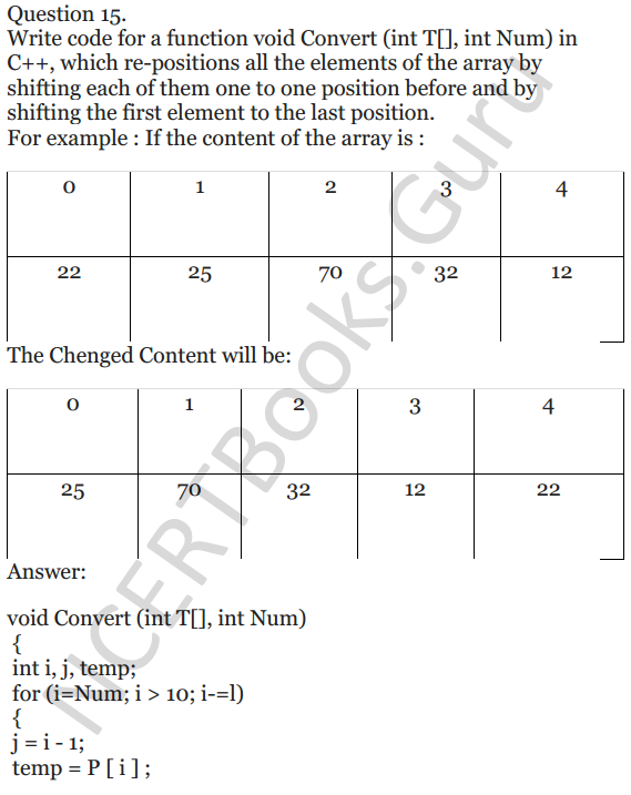 NCERT Solutions for Class 12 Computer Science (C++) Chapter - 8 – Arrays 14