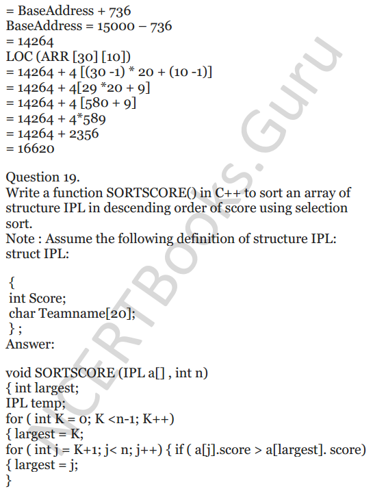 NCERT Solutions for Class 12 Computer Science (C++) Chapter - 8 – Arrays 18