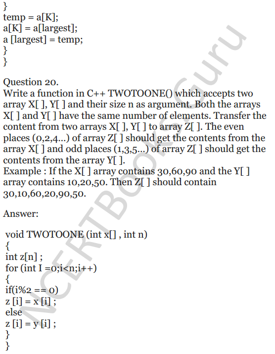 NCERT Solutions for Class 12 Computer Science (C++) Chapter - 8 – Arrays 19