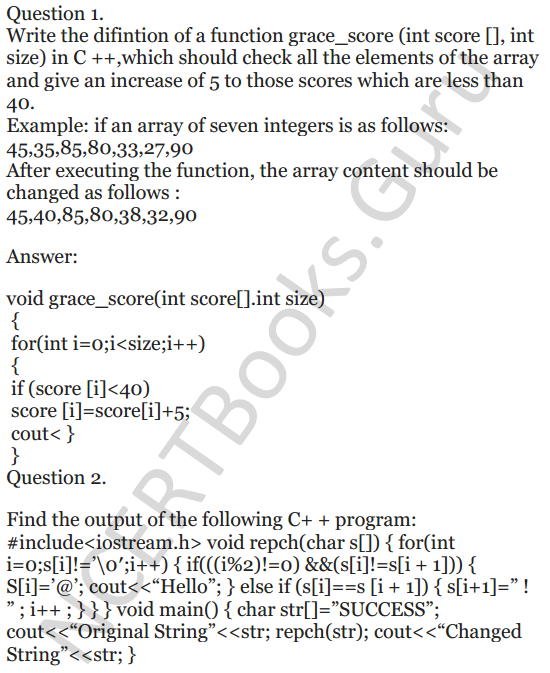 NCERT Solutions for Class 12 Computer Science (C++) Chapter - 8 – Arrays 2