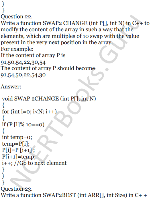 NCERT Solutions for Class 12 Computer Science (C++) Chapter - 8 – Arrays 21