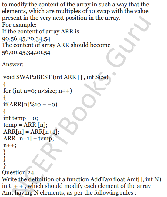 NCERT Solutions for Class 12 Computer Science (C++) Chapter - 8 – Arrays 22