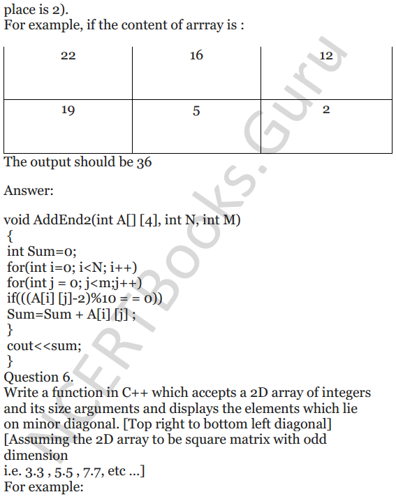 NCERT Solutions for Class 12 Computer Science (C++) Chapter - 8 – Arrays 28