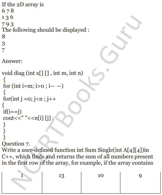 NCERT Solutions for Class 12 Computer Science (C++) Chapter - 8 – Arrays 29