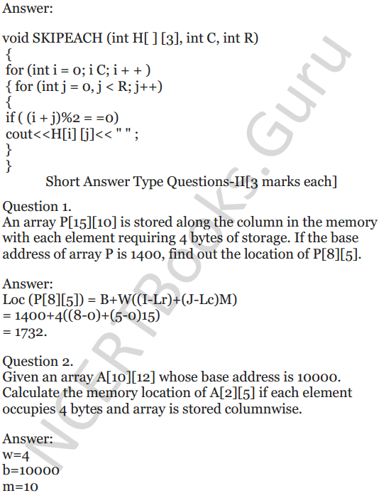 NCERT Solutions for Class 12 Computer Science (C++) Chapter - 8 – Arrays 31