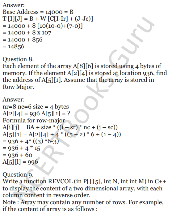 NCERT Solutions for Class 12 Computer Science (C++) Chapter - 8 – Arrays 35