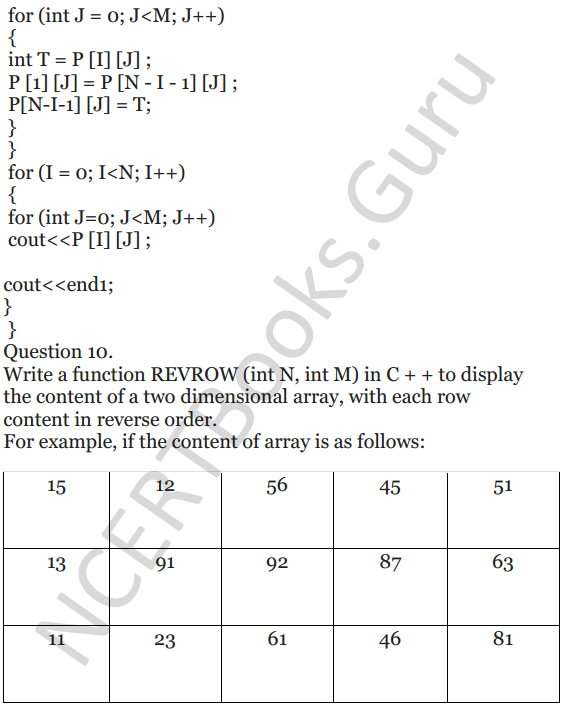 NCERT Solutions for Class 12 Computer Science (C++) Chapter - 8 – Arrays 37