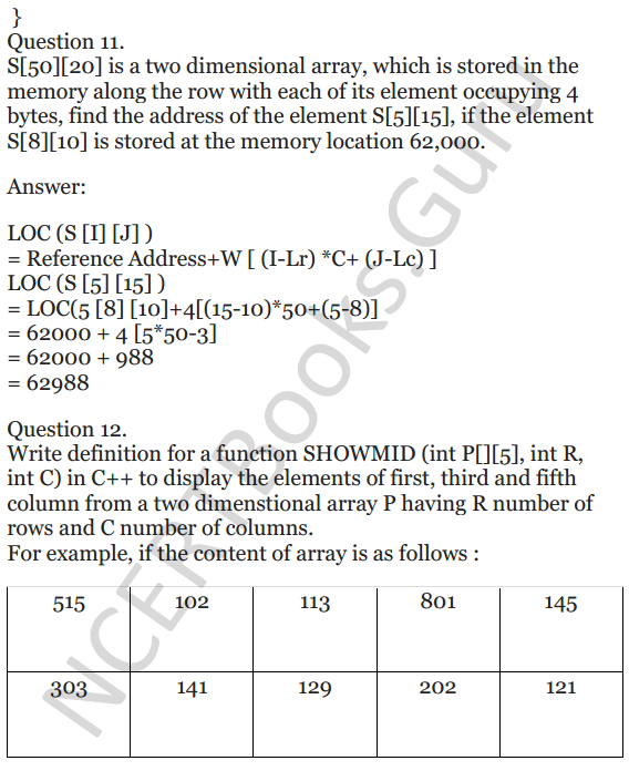 NCERT Solutions for Class 12 Computer Science (C++) Chapter - 8 – Arrays 39