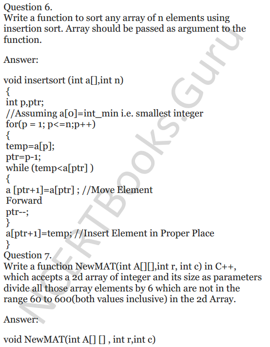 NCERT Solutions for Class 12 Computer Science (C++) Chapter - 8 – Arrays 5