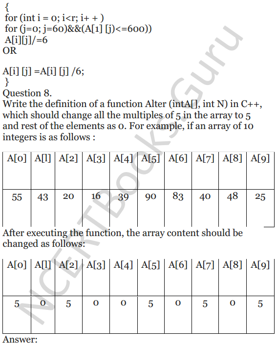 NCERT Solutions for Class 12 Computer Science (C++) Chapter - 8 – Arrays 6