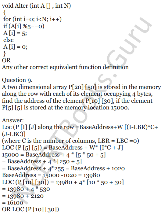 NCERT Solutions for Class 12 Computer Science (C++) Chapter - 8 – Arrays 7