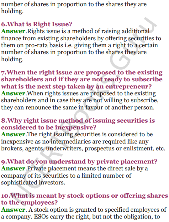 NCERT Solutions for Class 12 Entrepreneurship Chapter 6 Resource Mobilization 10