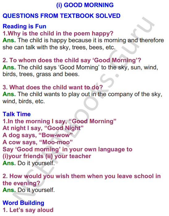 NCERT Solutions for class 3 English Unit-1 Poem Good Morning 1
