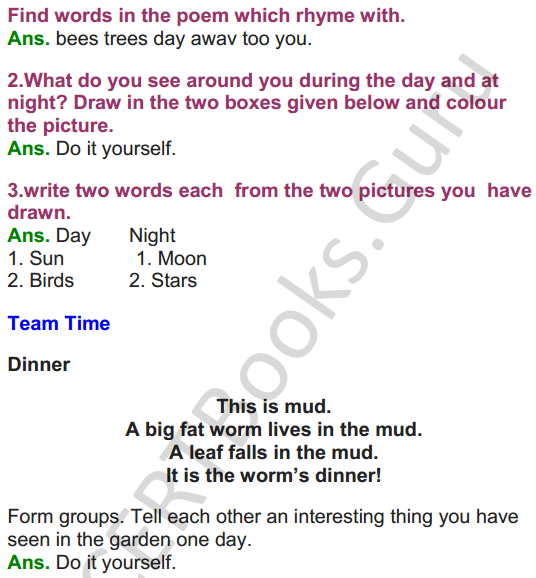 NCERT Solutions for class 3 English Unit-1 Poem Good Morning 2