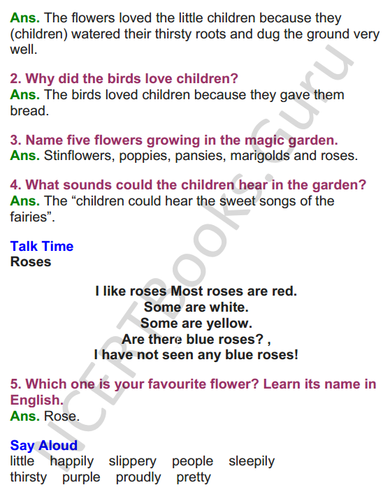 NCERT Solutions for class 3 English Unit-1 The Magic Garden 2