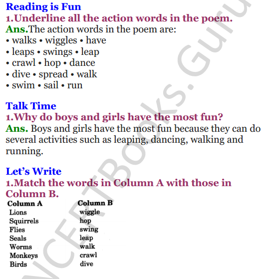 NCERT Solutions for Class 3 English Unit 10 Poem How creatures move 1