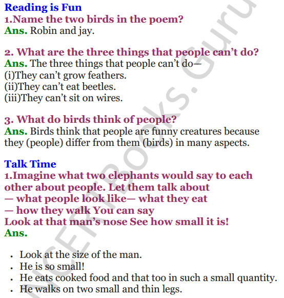 NCERT Solutions for class 3 English Unit-2 Bird Talk 1