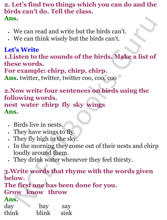 NCERT Solutions for class 3 English Unit-2 Bird Talk 2