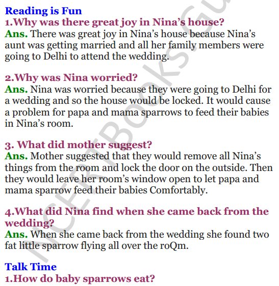 NCERT Solutions for Class 3 English Unit-2 Nina and the baby Sparrow 1