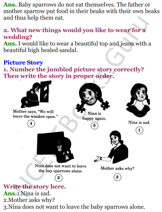 NCERT Solutions for Class 3 English Unit-2 Nina and the baby Sparrow 2