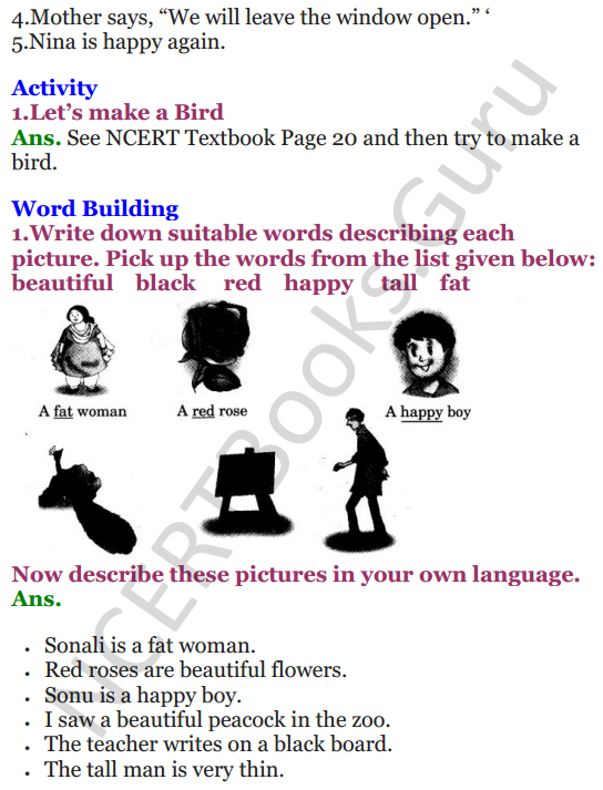 NCERT Solutions for Class 3 English Unit-2 Nina and the baby Sparrow 3