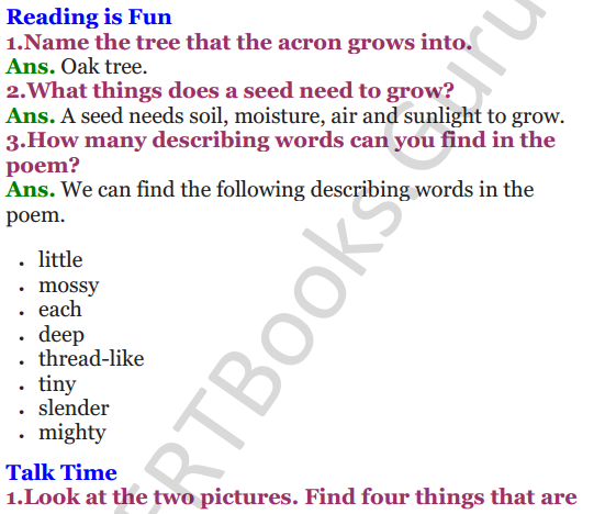 NCERT Solutions for class 3 English Unit-3 Poem Little by Little 1