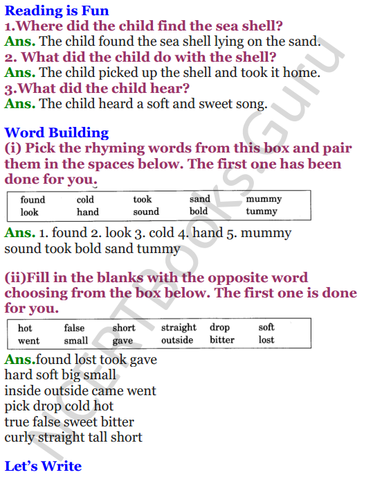 NCERT Solutions for class 3 English Unit-4 Poem Sea Song 1