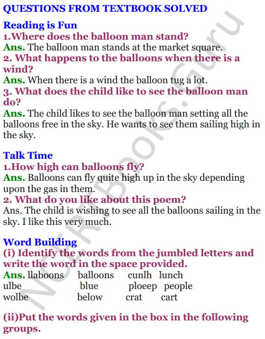 NCERT Solutions for class 3 English Unit-5 Poem The Balloon Man 1