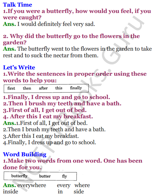 NCERT Solutions for Class 3 English Unit-5 The Yellow Butterfly 2