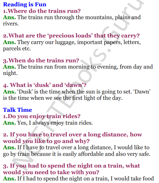 NCERT Solutions for Class 3 English Unit-6 Poem Trains 1