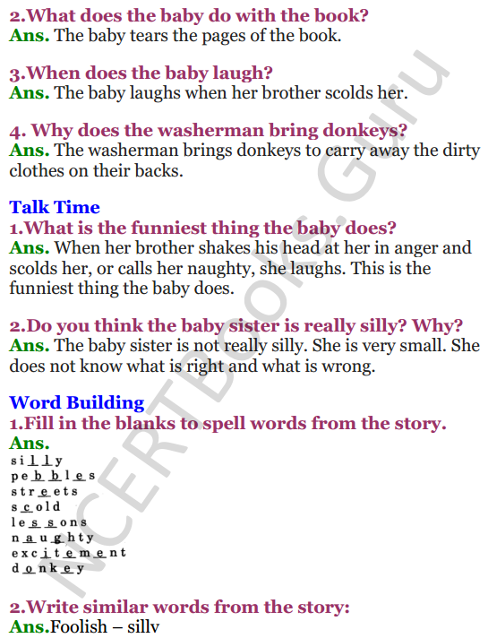NCERT Solutions for Class 3 English Unit 8 My silly sister 2