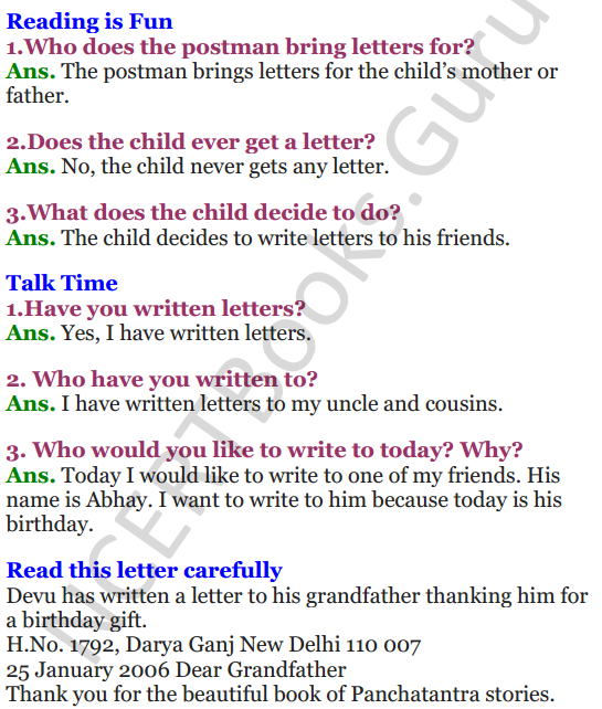 NCERT Solutions for Class 3 English Unit 8 Poem What's in the Mailbox 1