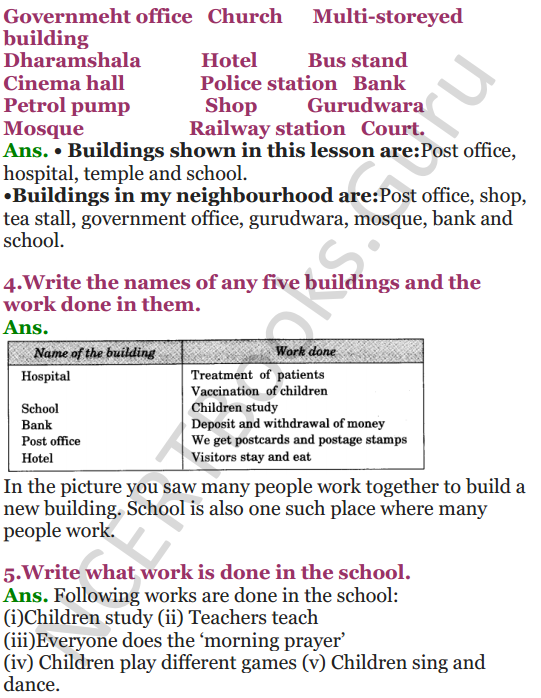 NCERT Solutions for class 3 EVS Chapter 12 Work We Do 2
