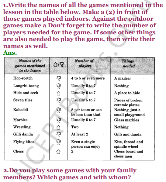NCERT Solutions for class 3 EVS Chapter 16 Games We Play 1
