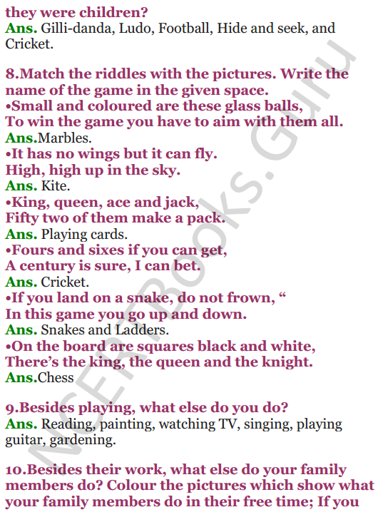 NCERT Solutions for class 3 EVS Chapter 16 Games We Play 3