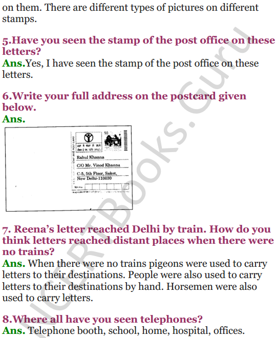 NCERT Solutions for Class 3 EVS Chapter 17 Here Comes a Letter 2