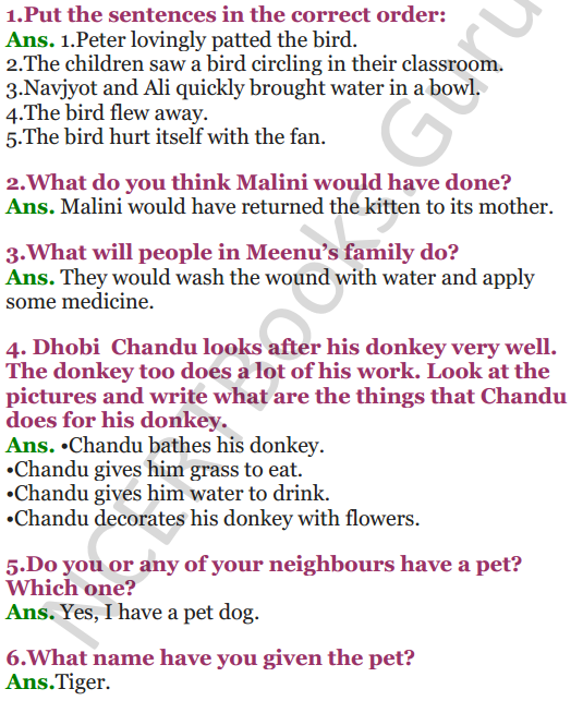 NCERT Solutions for Class 3 EVS Chapter 19 Our Friends-Animal 1