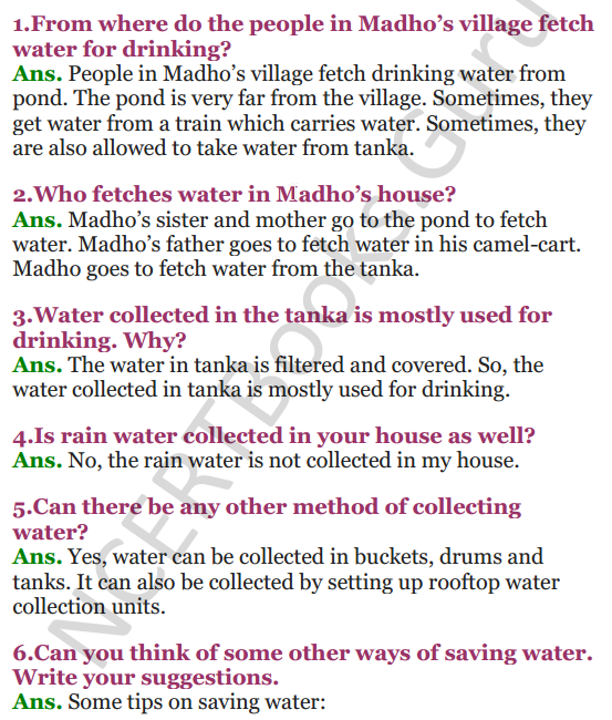 NCERT Solutions for Class 3 EVS Chapter 20 Drop By Drop 1