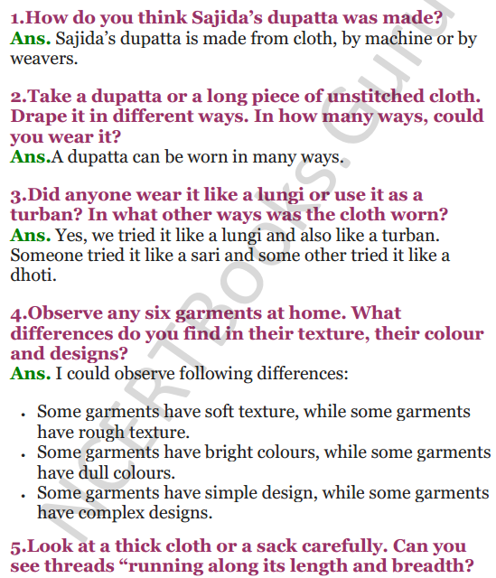 NCERT Solutions for Class 3 EVS Chapter 23 A Beautiful Cloth 1