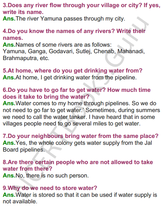 NCERT Solutions for Class 3 EVS Chapter 3 Water O' Water 3
