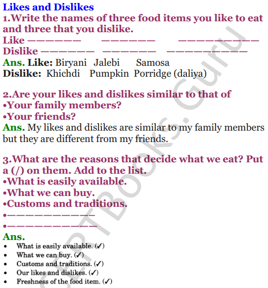 NCERT Solutions for Class 3 EVS Chapter 6 Foods We Eat 4