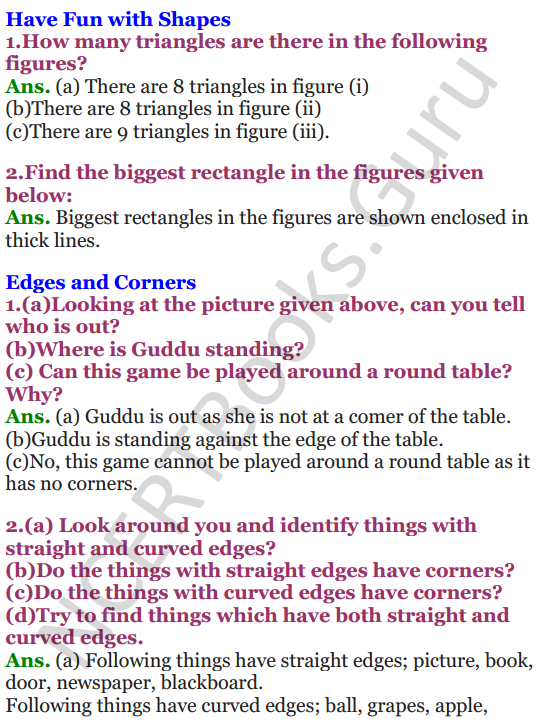 NCERT Solutions for class 3 Mathematics Chapter 5 Shapes and Designs 1