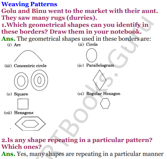 NCERT Solutions for class 3 Mathematics Chapter 5 Shapes and Designs 6