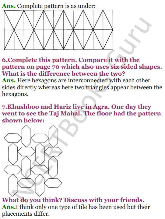 NCERT Solutions for class 3 Mathematics Chapter 5 Shapes and Designs 8