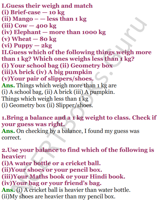 NCERT Solutions for class 3 Mathematics Chapter-8 Who is Heavier 3
